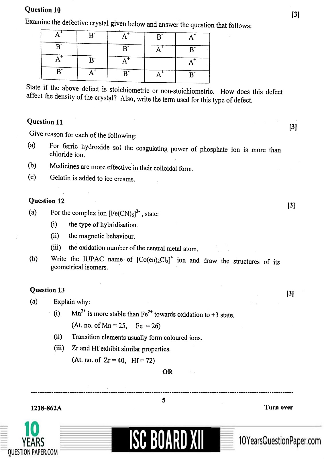ISC Class 12 Chemistry 2018 Question Paper