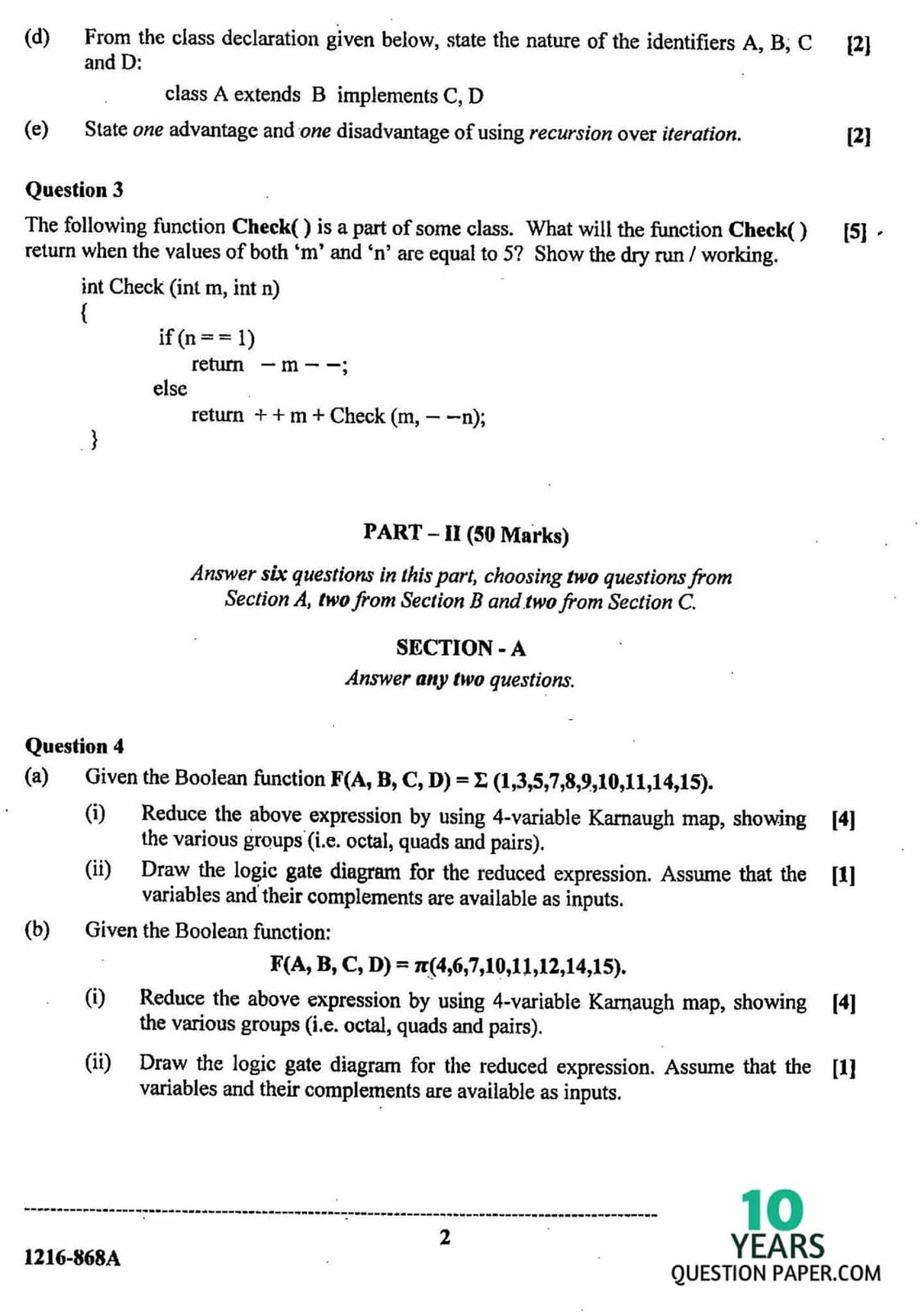 ISC Class 12 Computer Science 2016 Question Paper