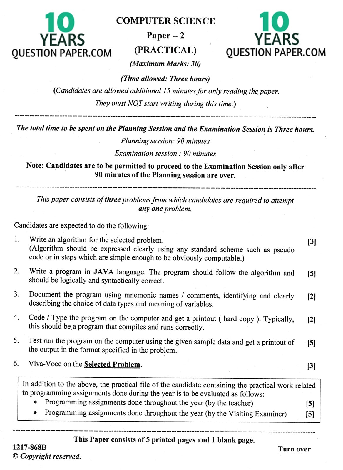 ISC Class 12 Computer Science Practical 2017 Question Paper