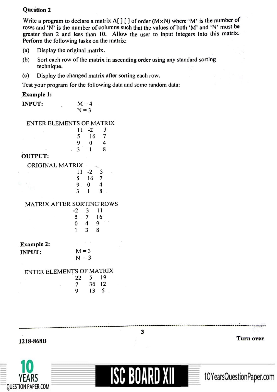 ISC Class 12 Computer Science Practical 2018 Question Paper