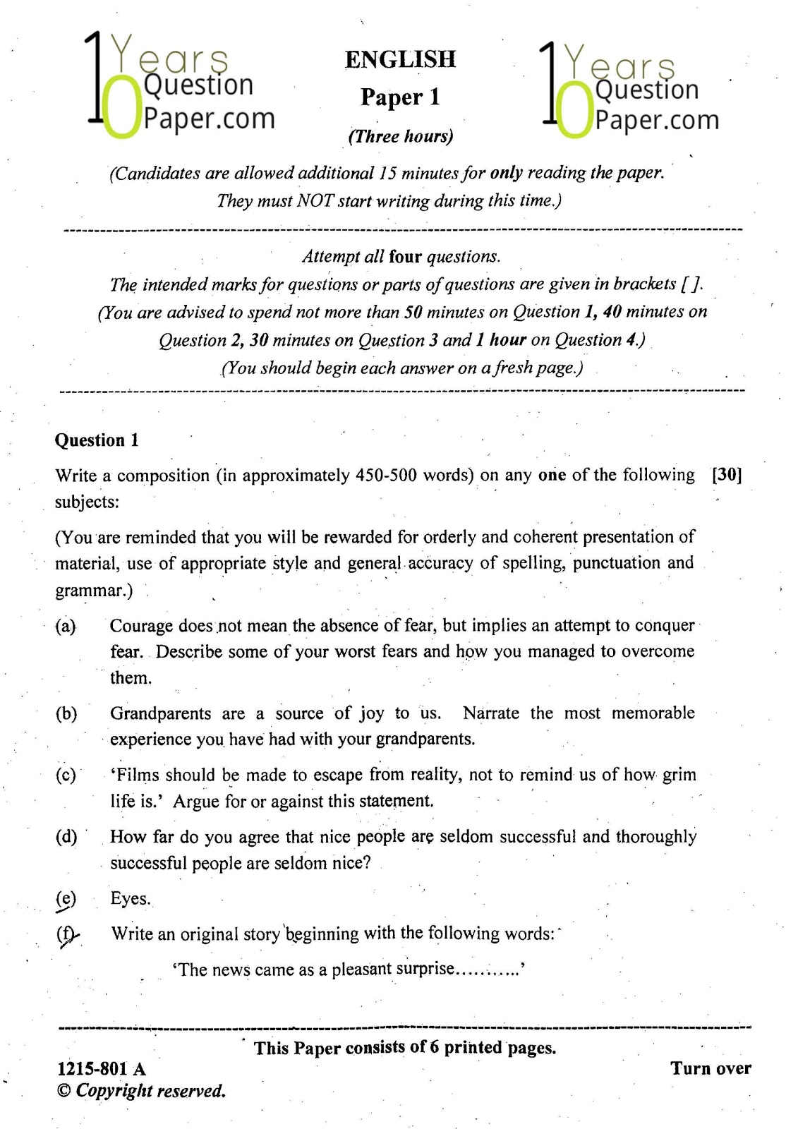 ISC Class 12 English Language 2015 Question Paper