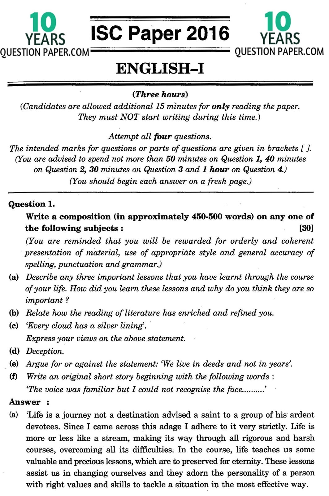 ISC Class 12 English Language 2016 Solved Paper