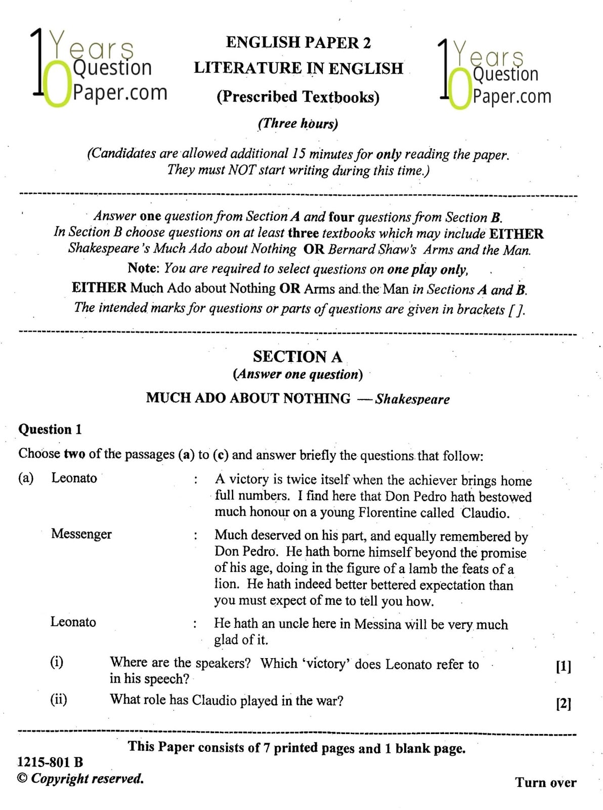 ISC Class 12 English Literature 2015 Question Paper