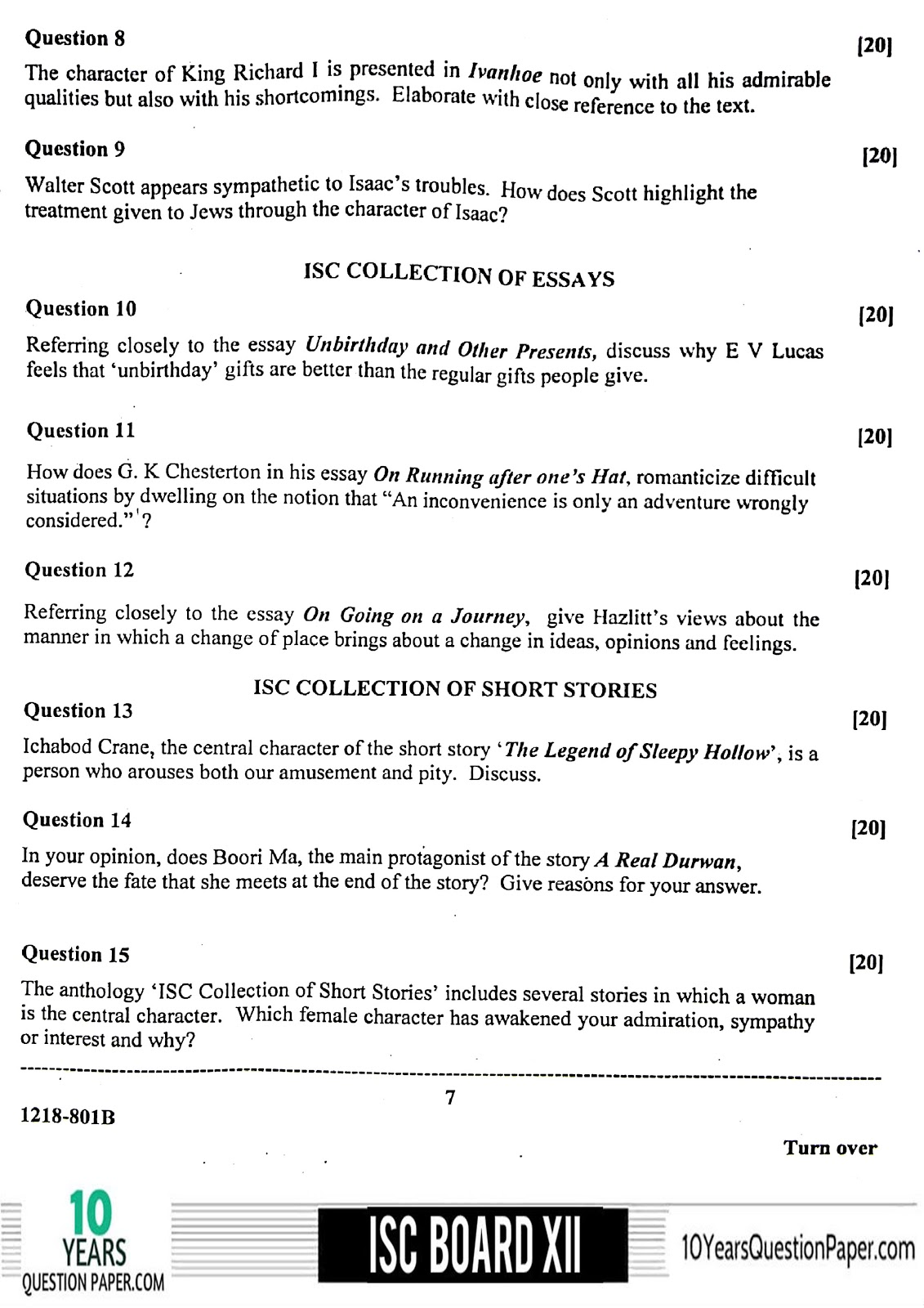 ISC Class 12 English Literature 2018 Question Paper