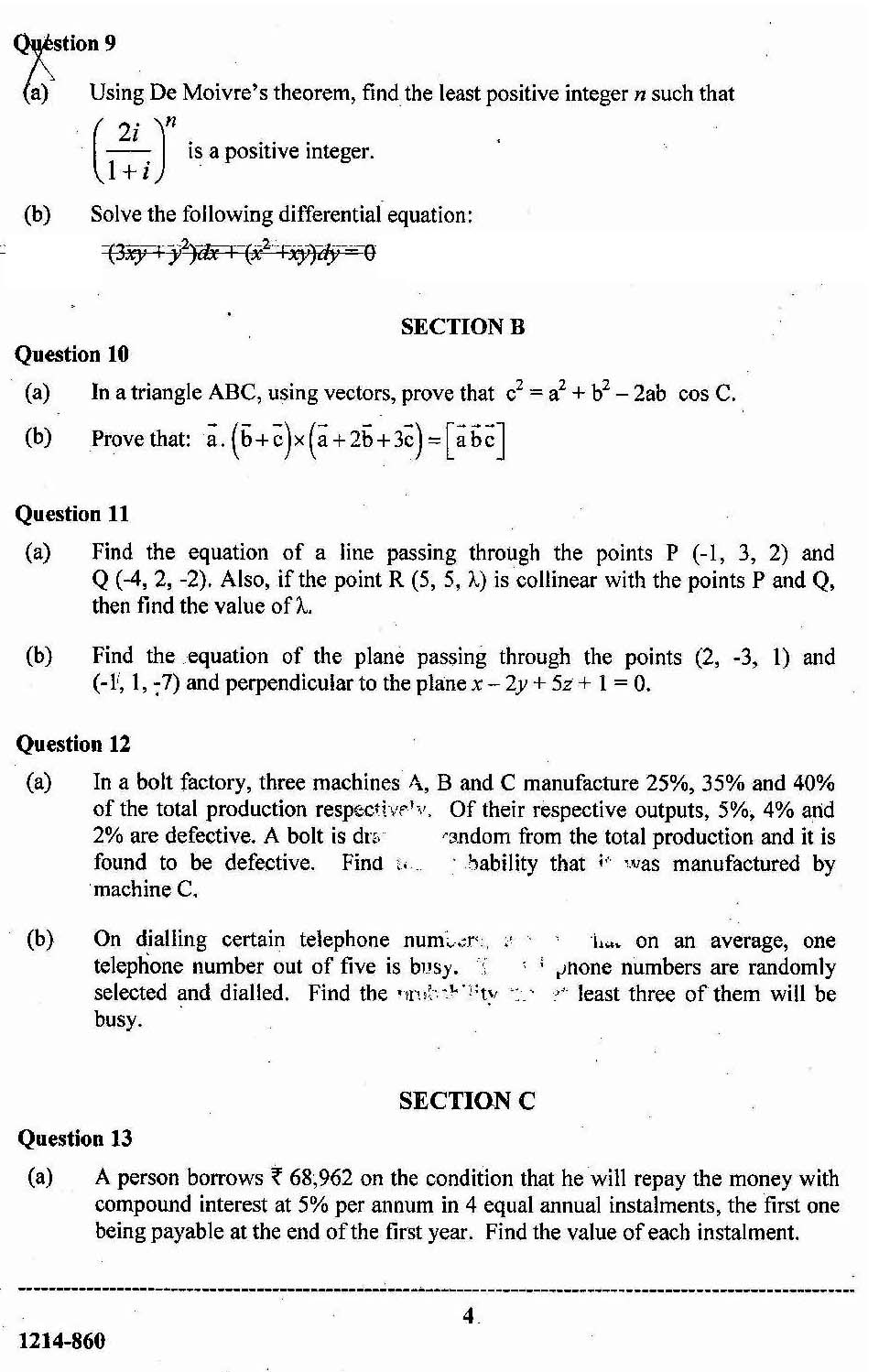 ISC Class 12 Mathematics 2014 Question Paper