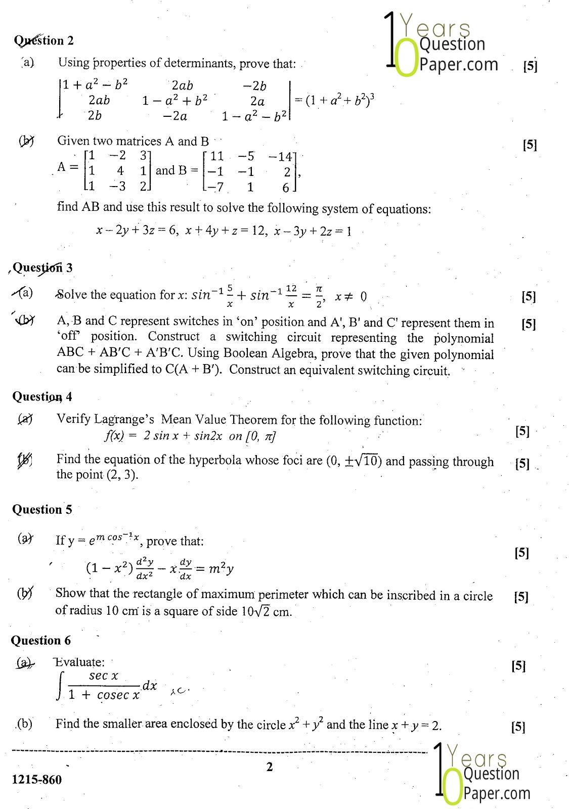 ISC Class 12 Mathematics 2015 Question Paper