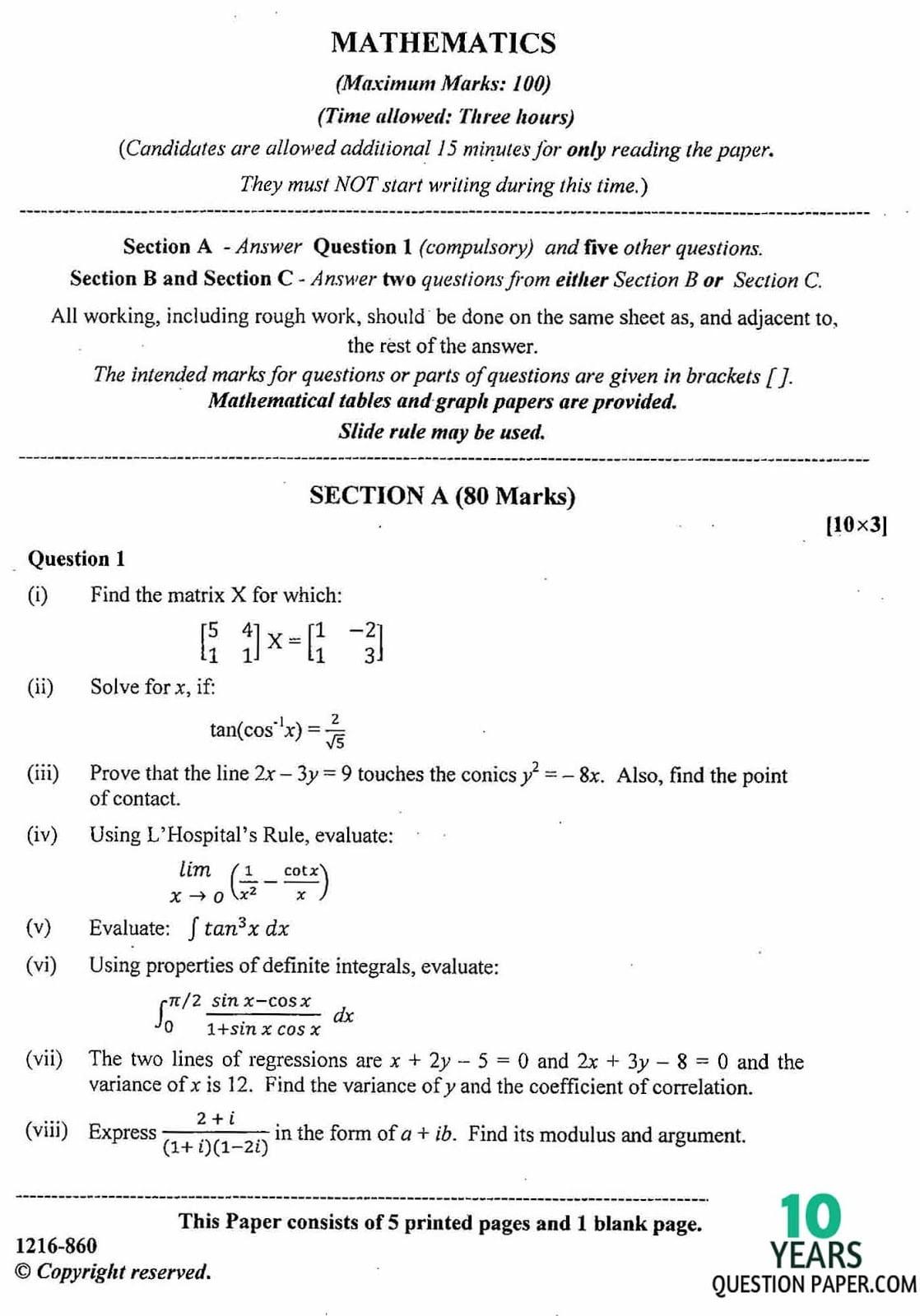 ISC Class 12 Mathematics 2016 Question Paper