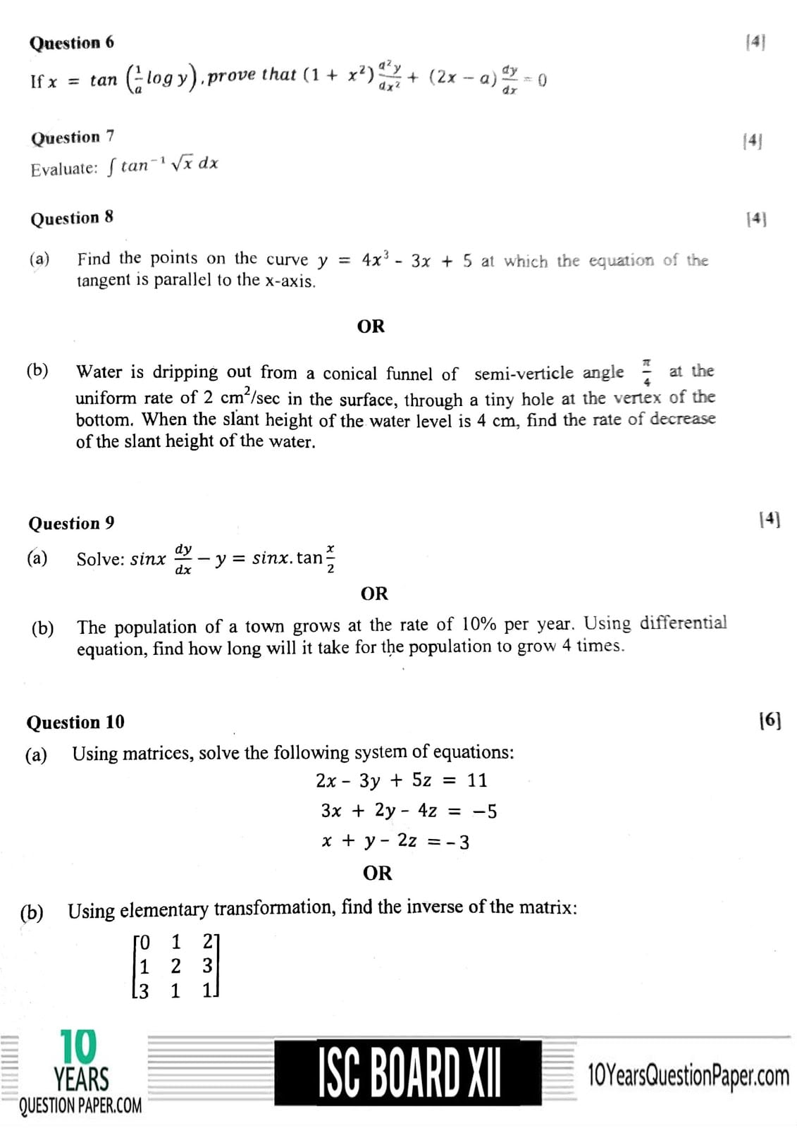 ISC Class 12 Mathematics 2018 Question Paper