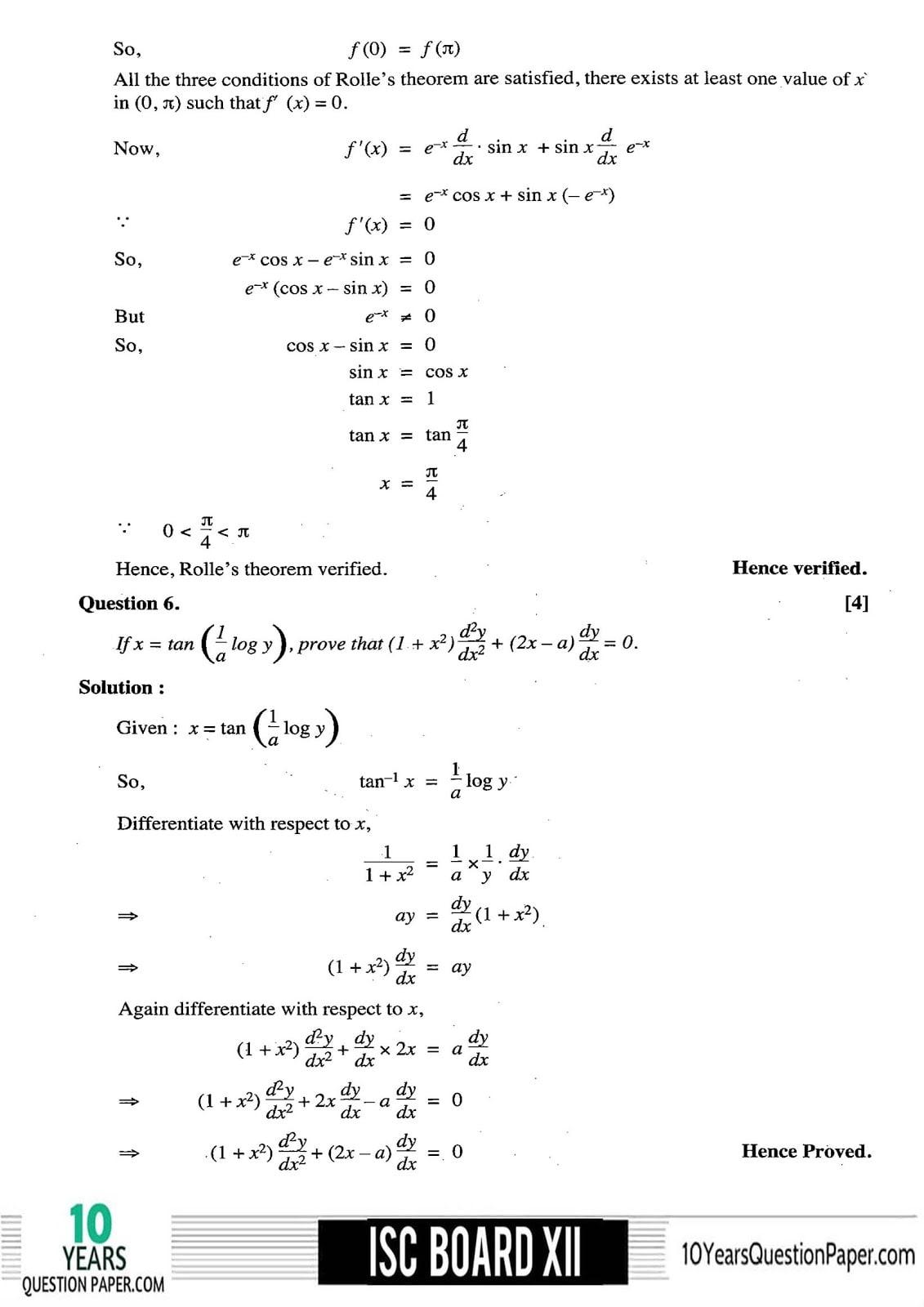 ISC Class 12 Mathematics 2018 Solved Paper