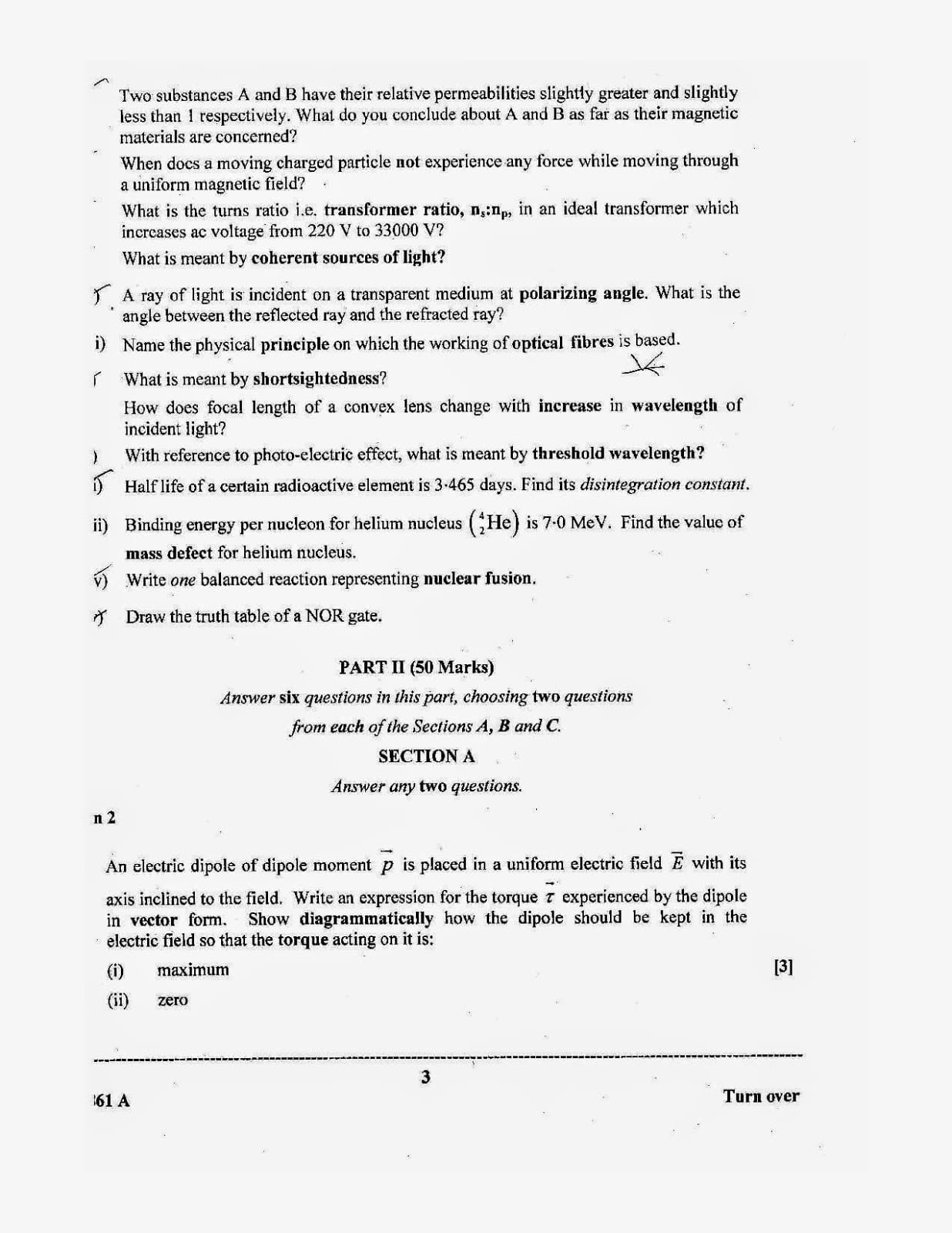 ISC Class 12 Physics 2014 Question Paper