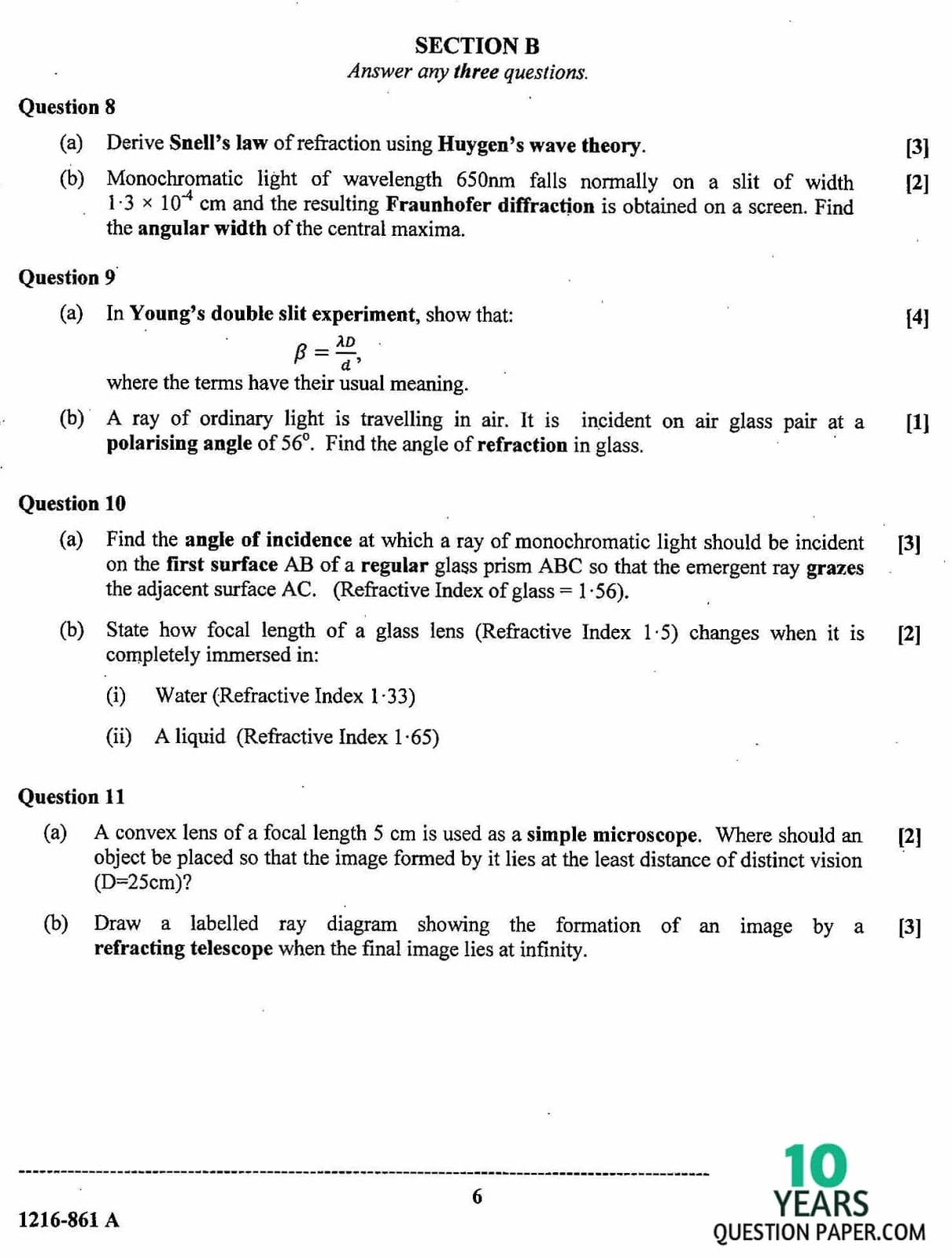 ISC Class 12 Physics 2016 Question Paper