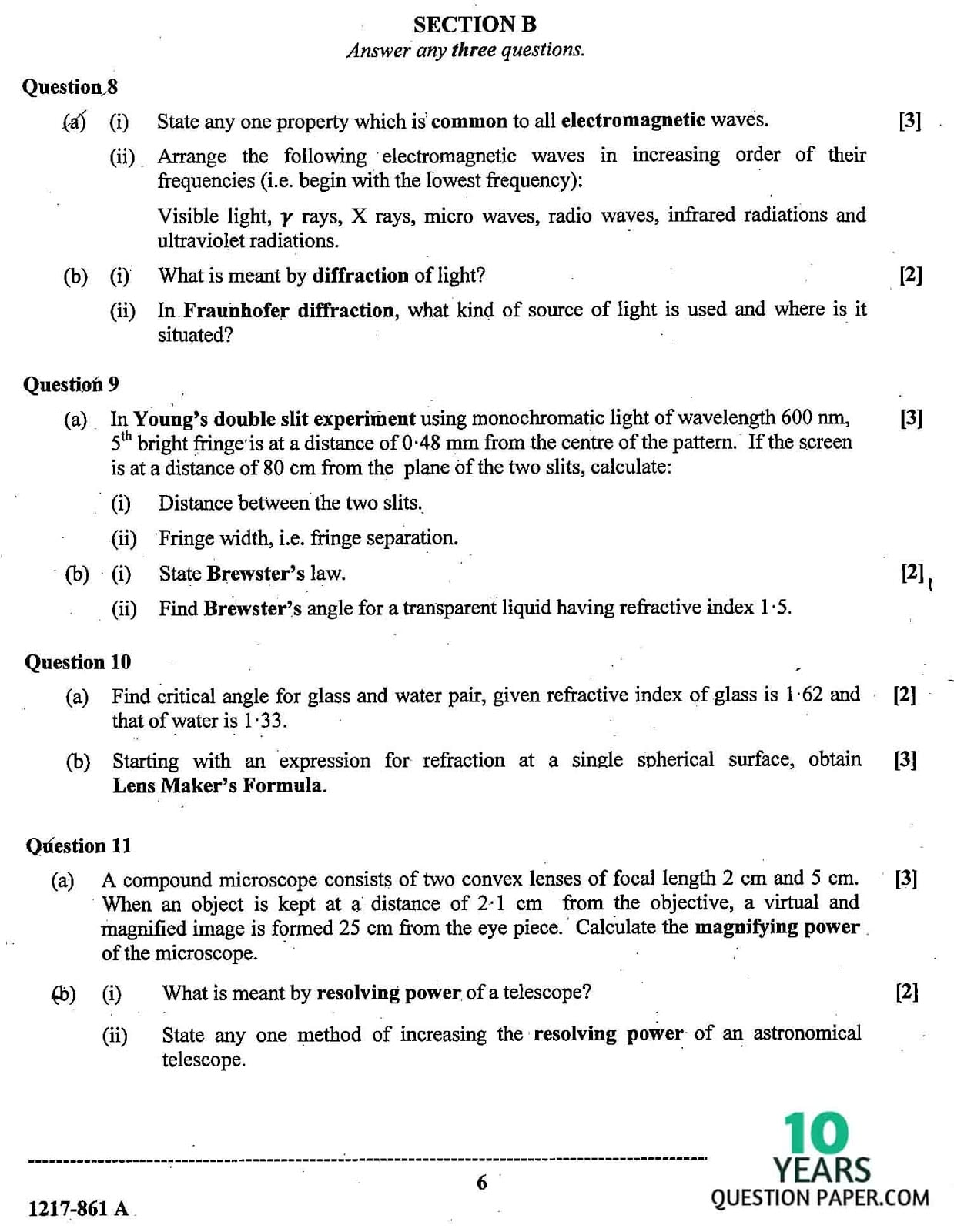 ISC Class 12 Physics 2017 Question Paper