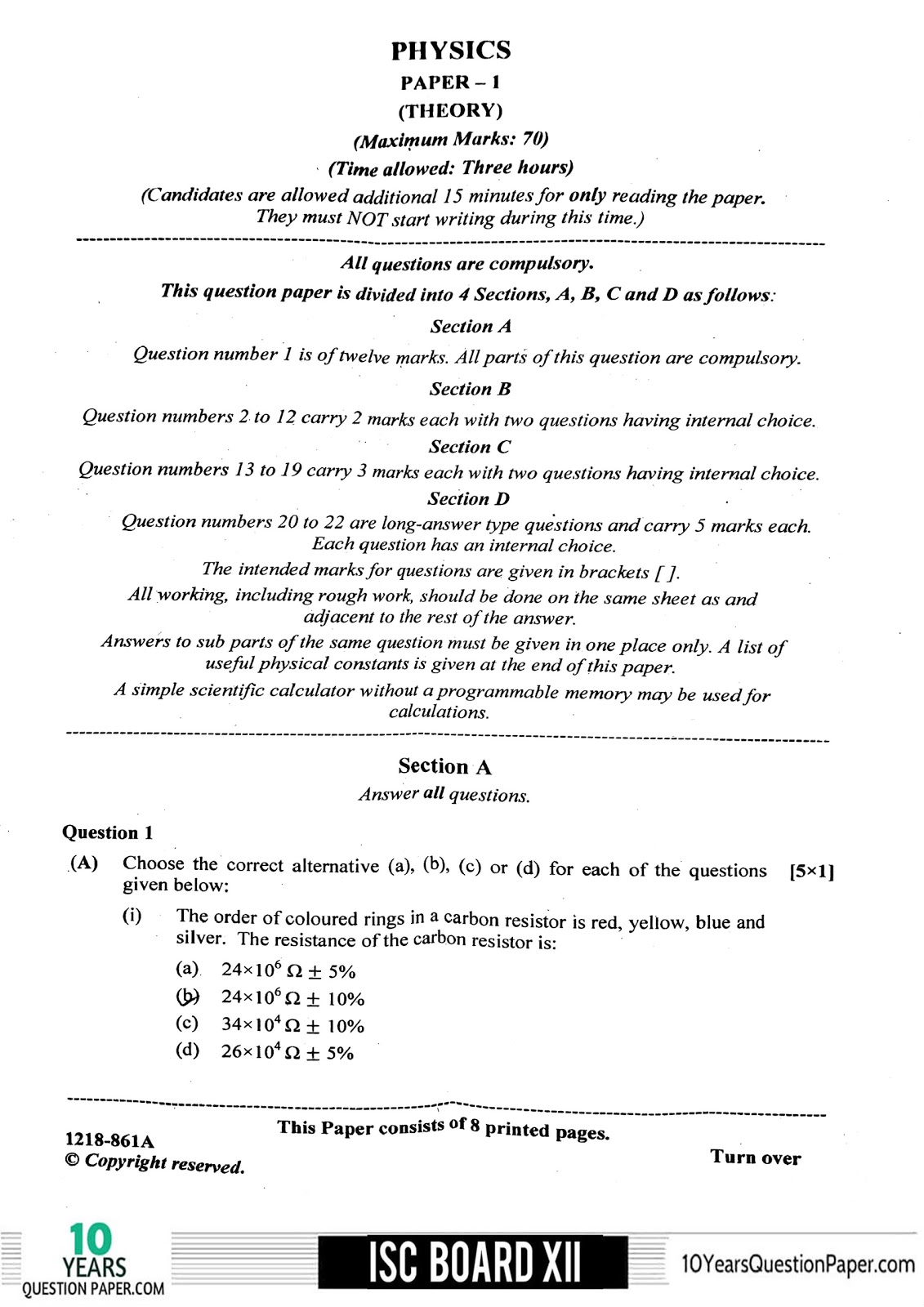 ISC 2018 Physics Question Paper for Class 12