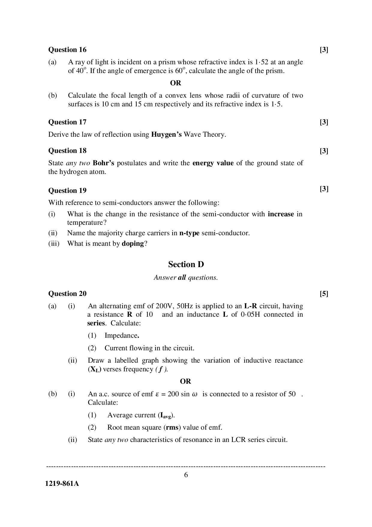 ISC Class 12 Physics 2019 Question Paper